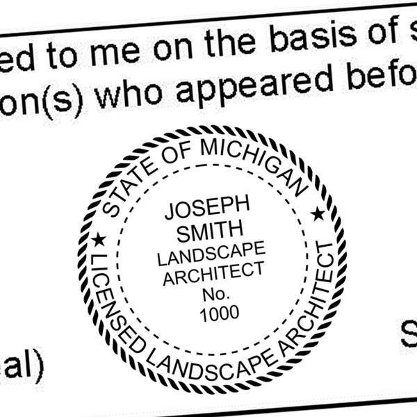 State of Michigan Landscape Architect Seal Imprint