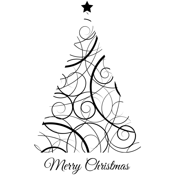 Modern Swirls Christmas Tree Craft Stamp