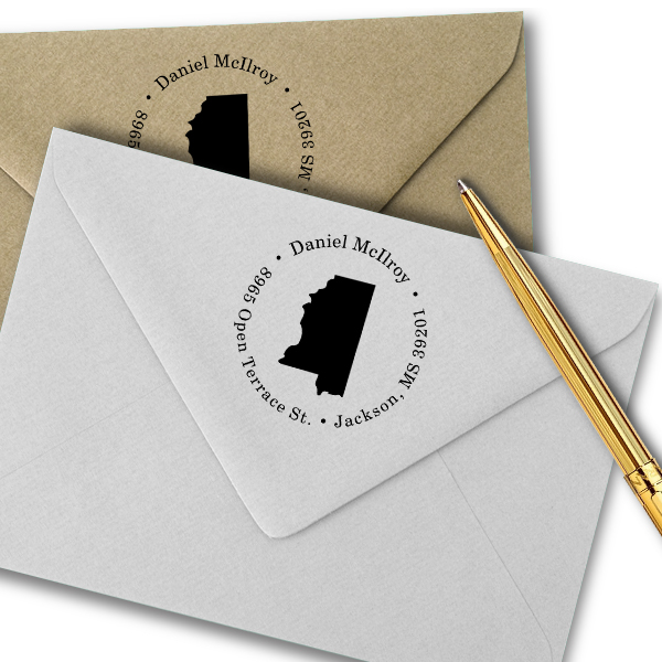 Mississippi Round Address Stamp Imprint Example