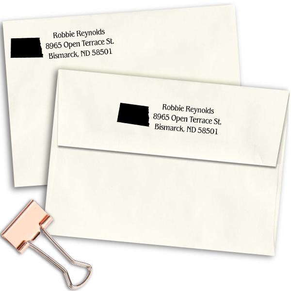 North Dakota Return Address Stamp Imprint Example