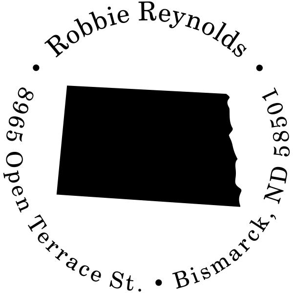 North Dakota Round Address Stamp