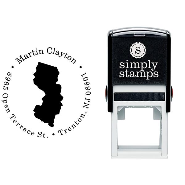New Jersey Round Address Stamp Body and Design