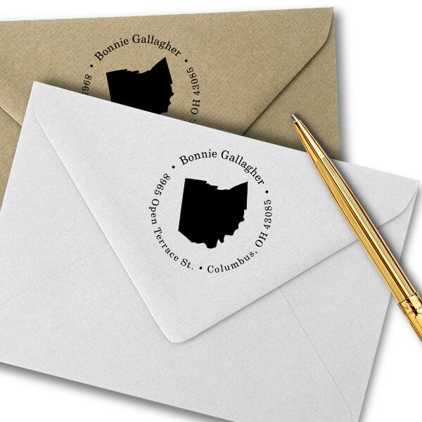Ohio Round Address Stamp Imprint Example