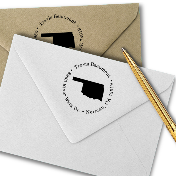 Oklahoma Round Address Stamp Imprint Example