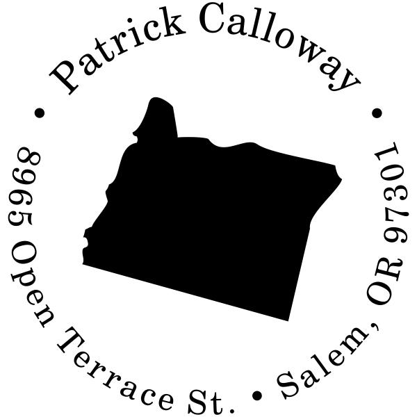 Oregon Round Address Stamp