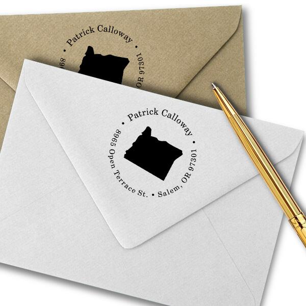 Oregon Round Address Stamp Imprint Example