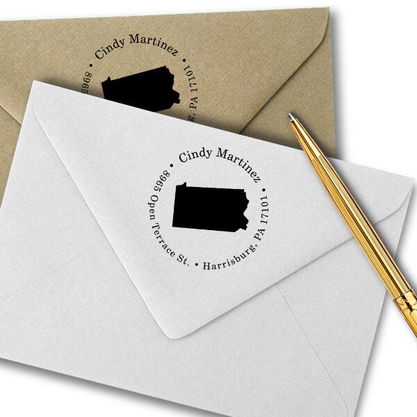 Pennsylvania Round Address Stamp Imprint Example