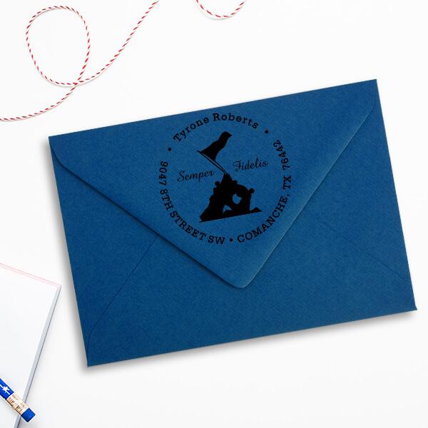 Iwo Jima Semper Fidelis Address Stamp Imprint Example