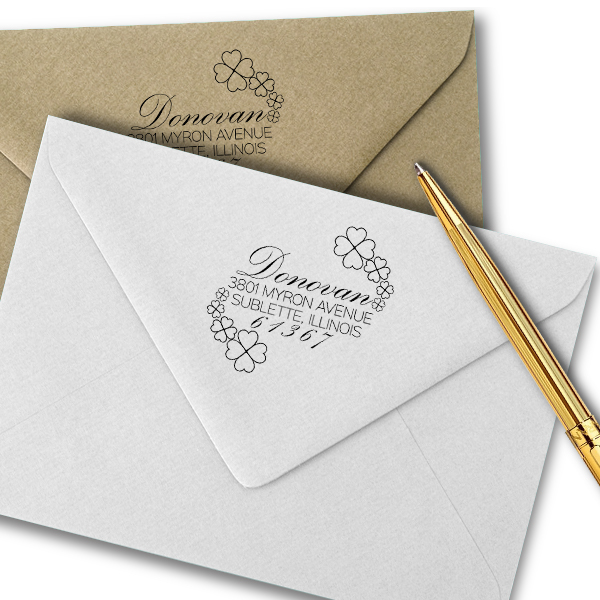Donovan Script Address Stamp Imprint Example
