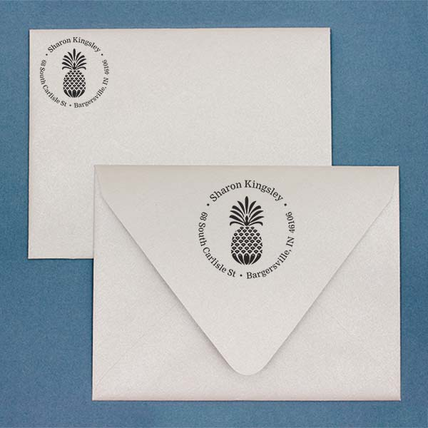 Fancy Pineapple Return Address Stamp Imprint Example