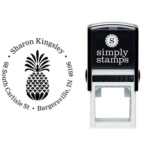 Fancy Pineapple Return Address Stamp Body and Design