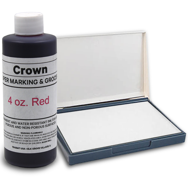 Red 4oz SuperMarking Ink w/ Small Pad