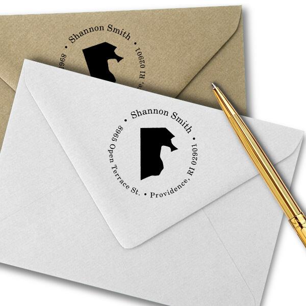 Rhode Island Round Address Stamp Imprint Example