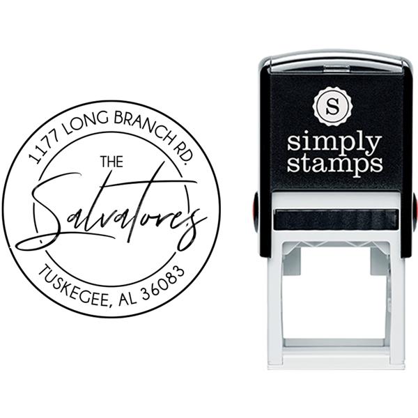 Salvatore Round Script Address Stamp