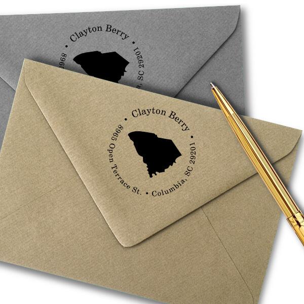 South Carolina Round Address Stamp Imprint Example