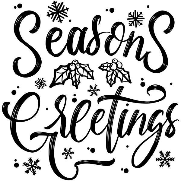 "Seasons Greetings Craft Stamp   2"" x 2"""