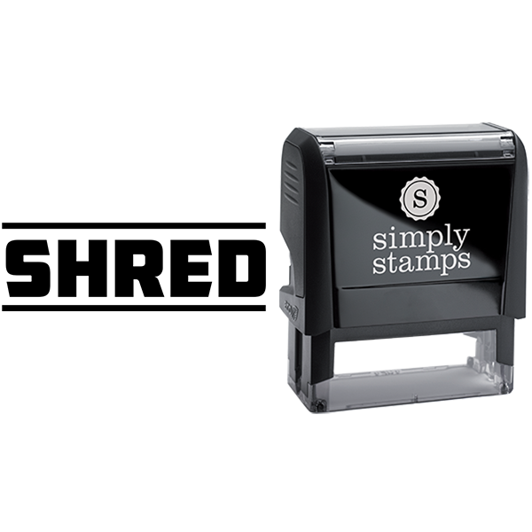 Shred in Sharp Lettering Business Stamp