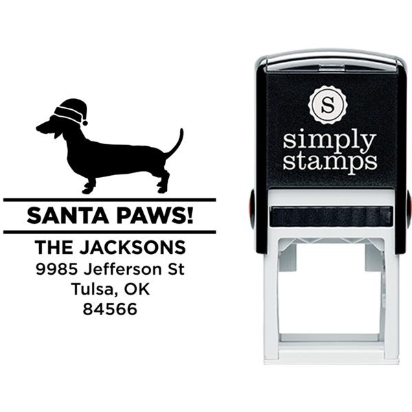 Santa Paws Daschund Holiday Address Stamp