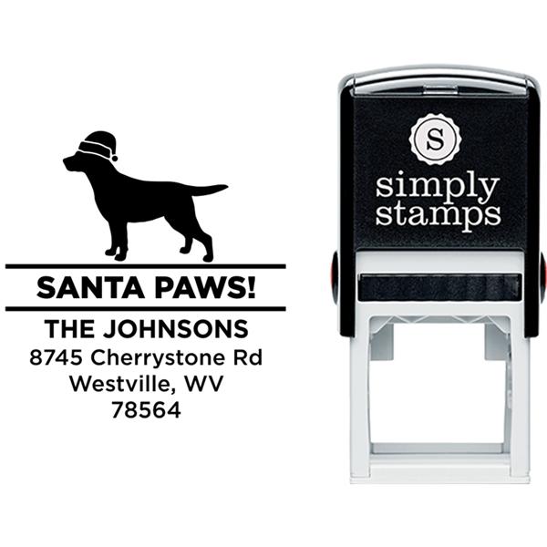 Santa Paws Labrador Holiday Address Stamp