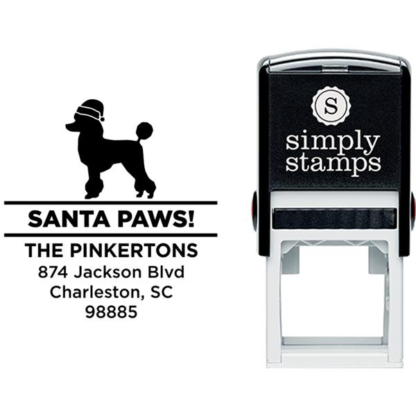 Santa Paws Poodle Holiday Address Stamp