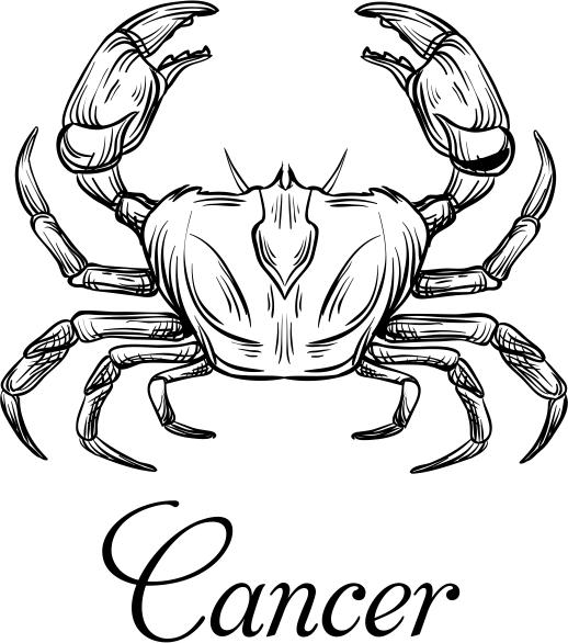 Modern Cancer Illustration Hand Stamp