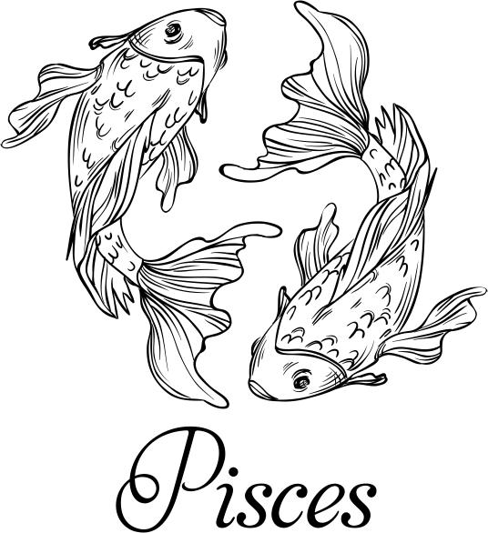 Modern Pisces Illustration Hand Stamp