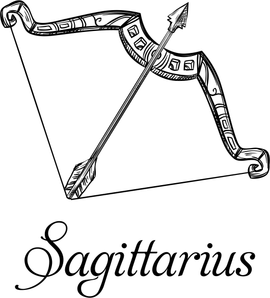 Modern Sagittarius Illustration Hand Stamp
