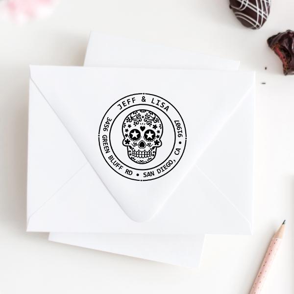 Sugar Skull Two Round Address Stamp Imprint Example