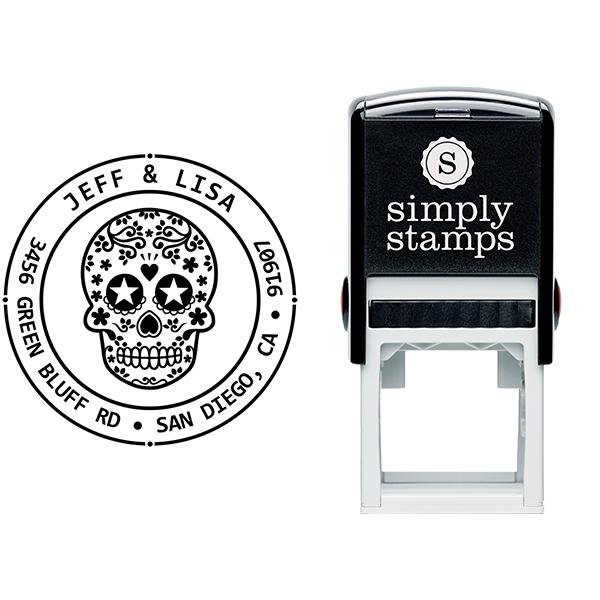 Sugar Skull Two Round Address Stamp Body and Design