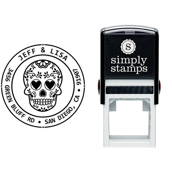 Sugar Skull Four Round Address Stamp Body and Design