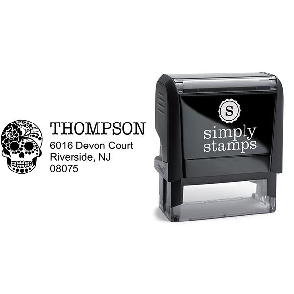 Sugar Skull Twenty Four Address Stamp Body and Design