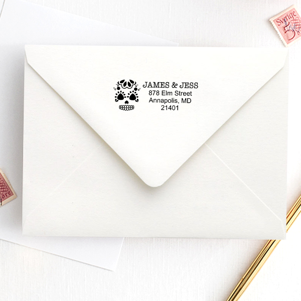 Sugar Skull Twenty Five Address Stamp Imprint Example