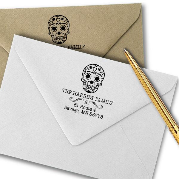 Sugar Skull Tucker Return Address Stamp Imprint Example