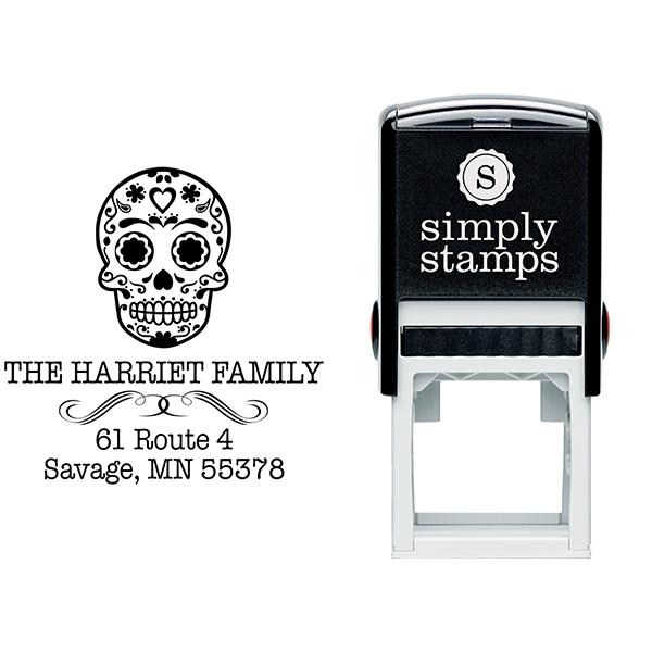 Sugar Skull Tucker Return Address Stamp Body and Design