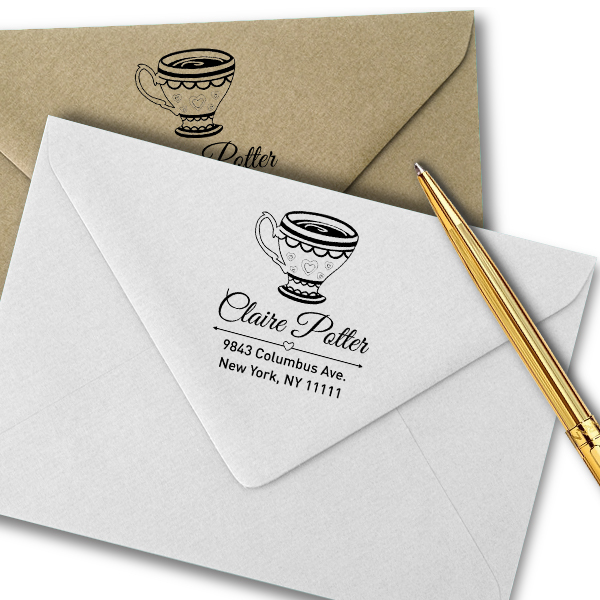 Heart Victorian Tea Cup Address Stamp Imprint Example