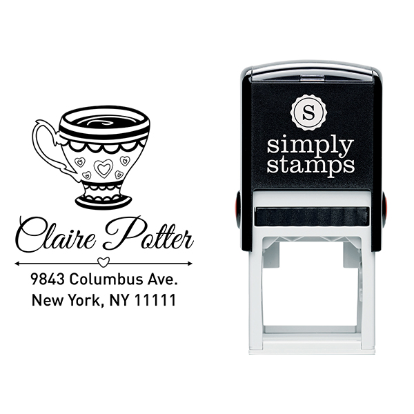 Heart Victorian Tea Cup Address Stamp Body and Design