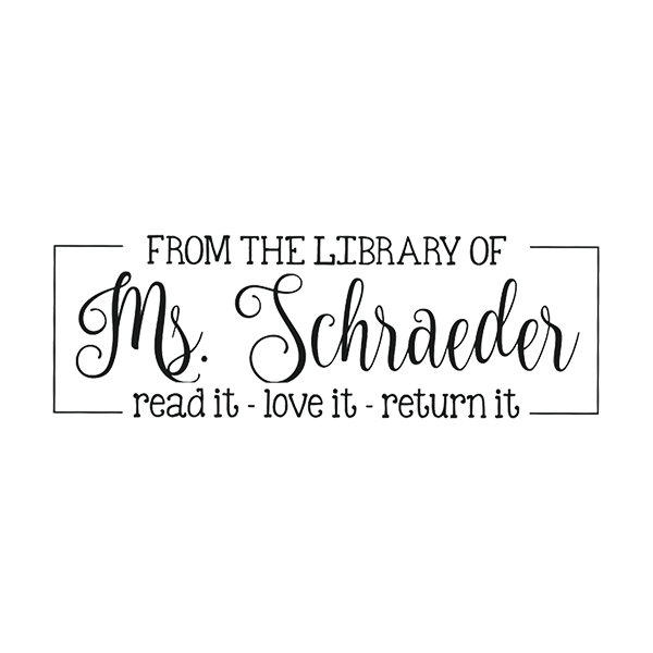 Playful Script 'From the Library of' Teacher Stamp