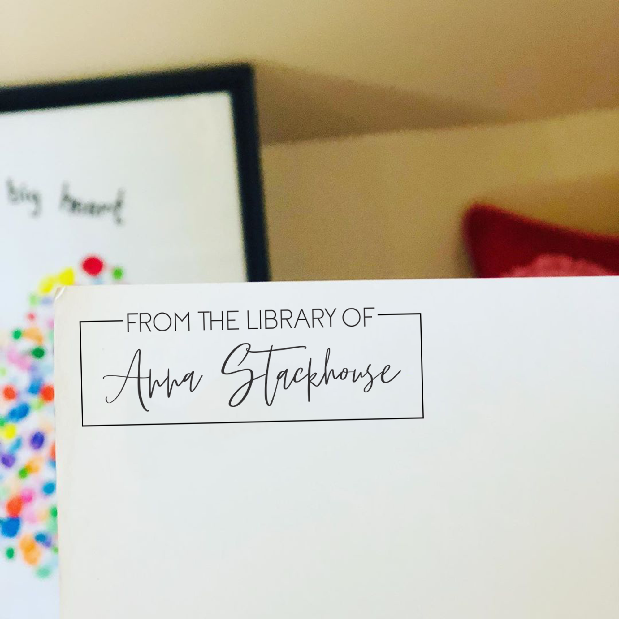 Trendy Script 'From the Library of' Teacher Stamp