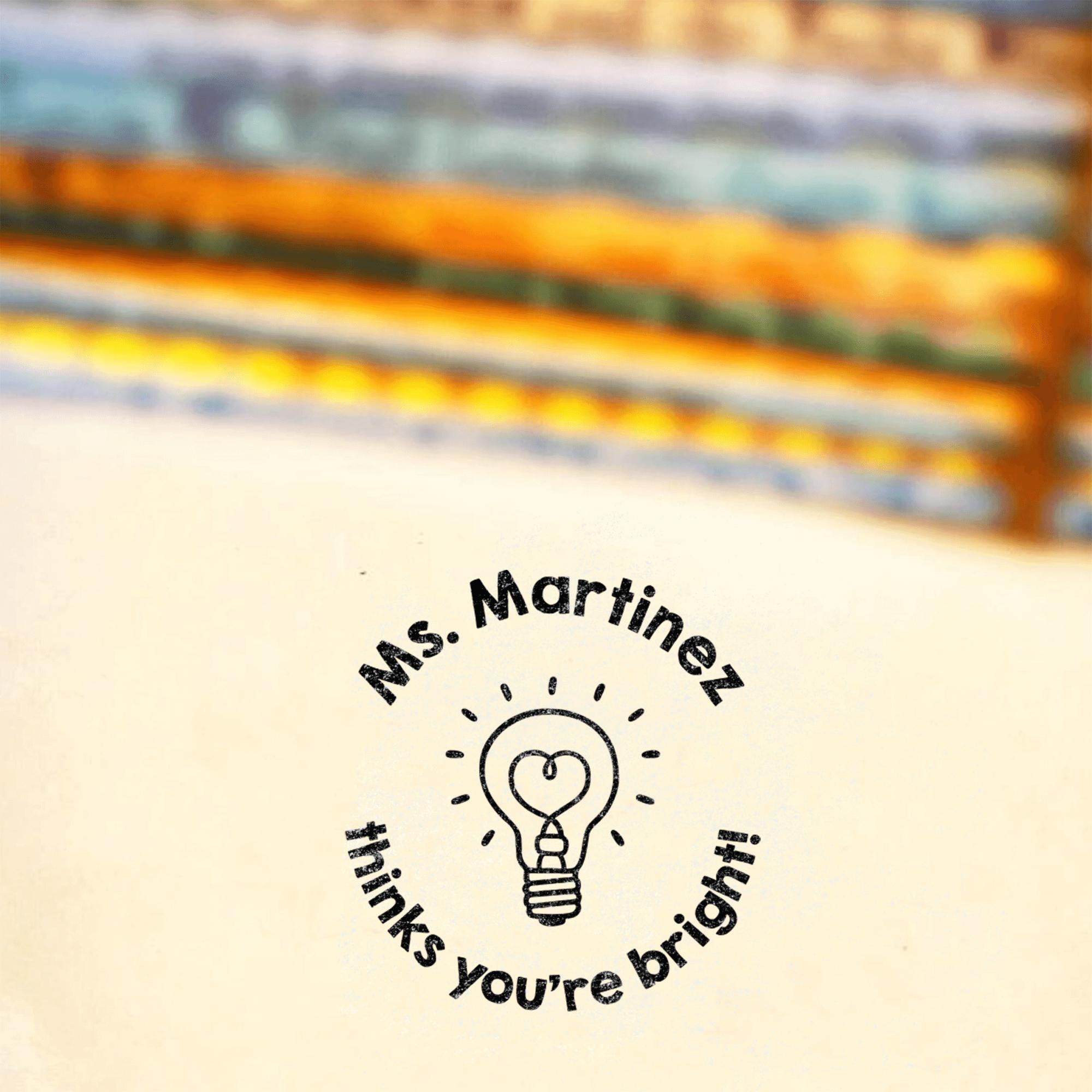 Cute Lightbulb 'You're Brilliant' Grading Stamp