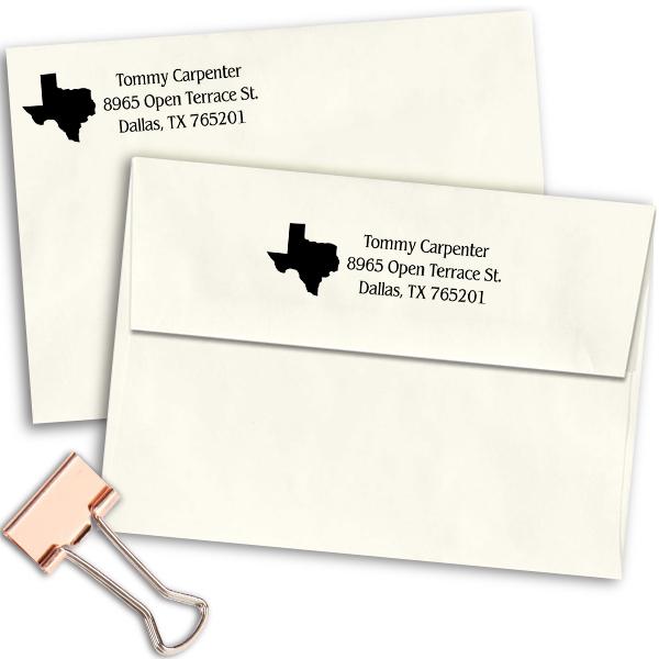 Texas Return Address Stamp Imprint Example