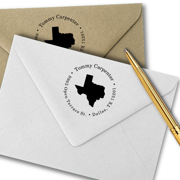 Texas Round Address Stamp Imprint Example