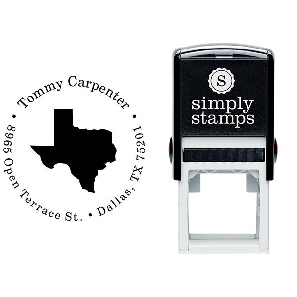 Texas Round Address Stamp Body and Design
