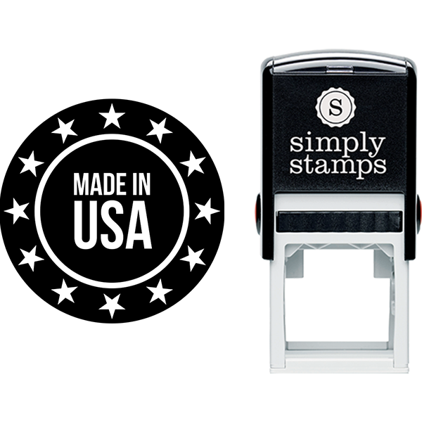 Rounded Made in USA with Stars Business Stamp