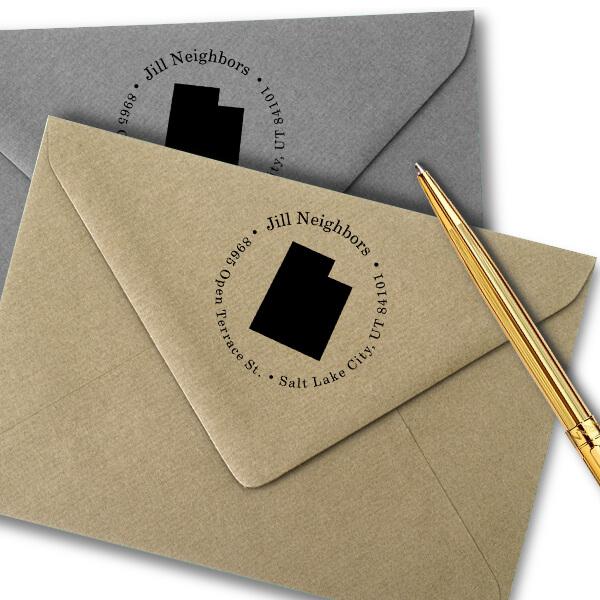 Utah Round Address Stamp Imprint Example