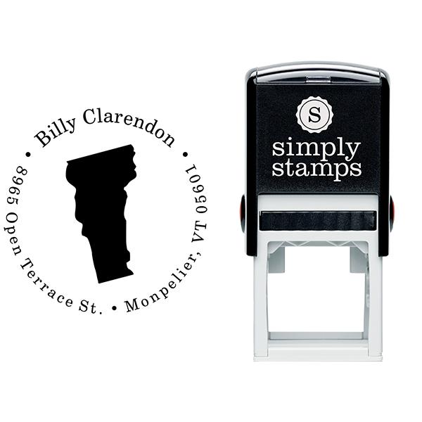 Vermont Round Address Stamp Body and Design