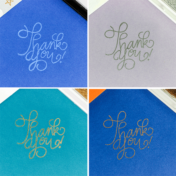white, silver, gold and copper ink pads