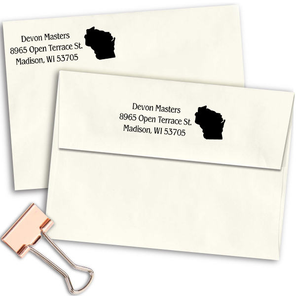 Wisconsin Return Address Stamp Imprint Example