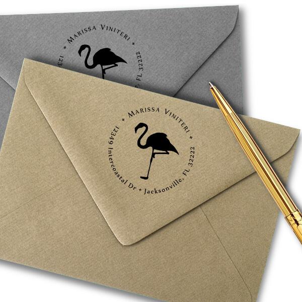 Flamingo Return Address Stamp Imprint Example