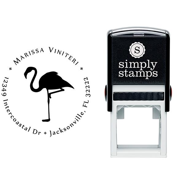 Flamingo Return Address Stamp Body and Design