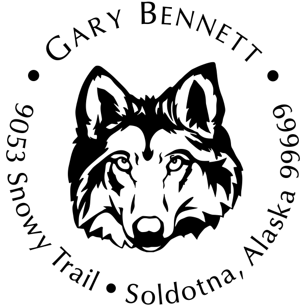 Wolf Face Return Address Stamp